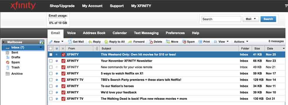 comcast email log in