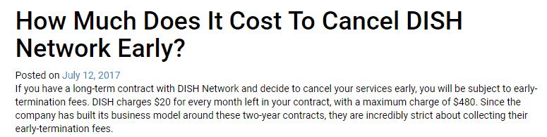 dish cancellation fee